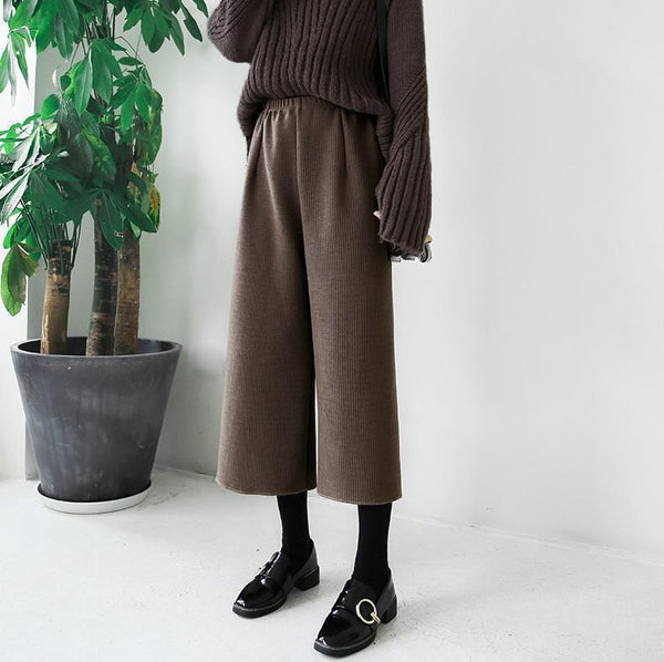 KNIT WIDE ELASTIC WAIST BLACK GRAY KHAKI CREAM PANTS