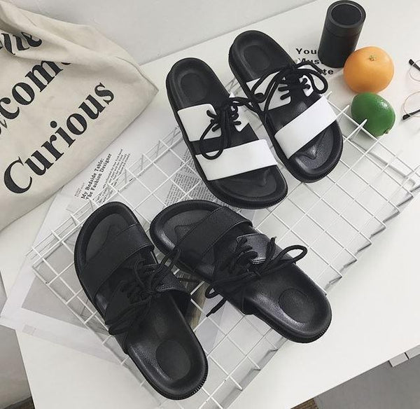 LACE UP BLACK PU SUMMER FLAT RUBBER SANDALS
