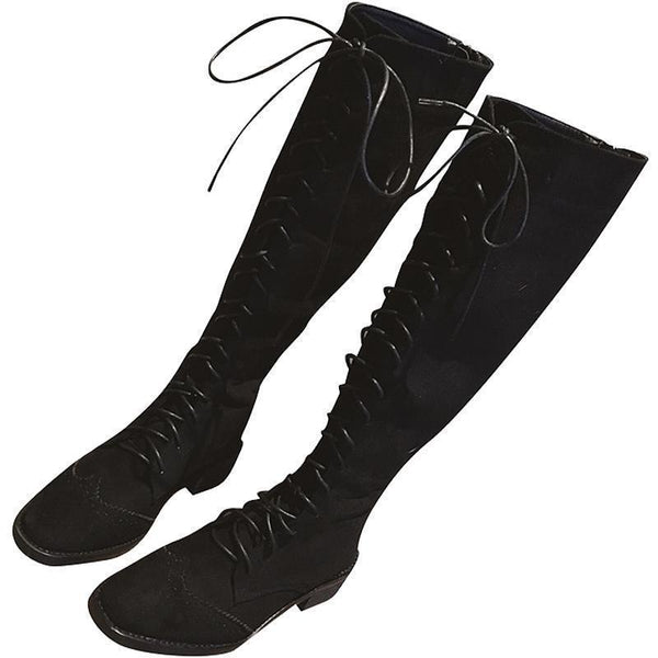 LACE UP SQUARE HEEL OVER KNEE FLATS BOOTS