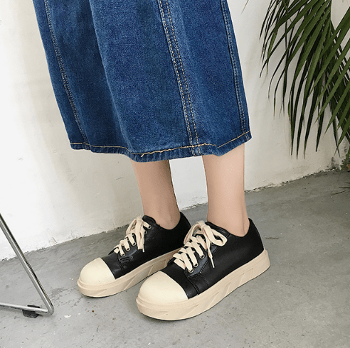 LACEUP PU LEATHER RUBBER TOE NOSE FLAT SNEAKERS