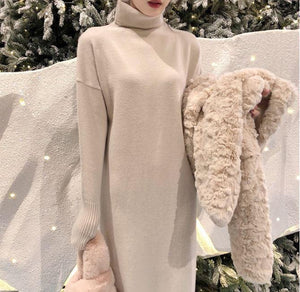 LAMB FAUX FUR WARM WINTER COAT JACKET + LONG KNITTED DRESS