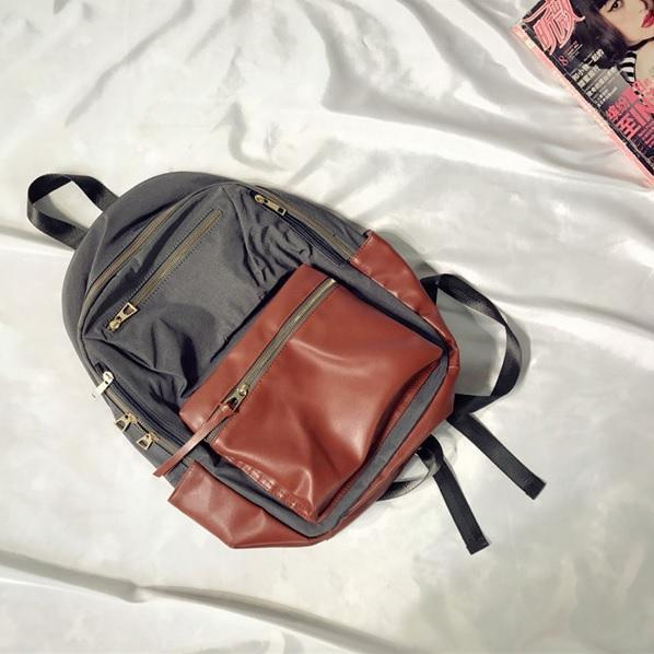 LEATHER FRONT PACK COLLEGE STYLE ZIPPER BACKPACK