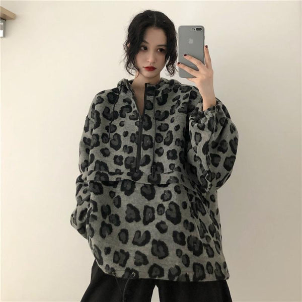 LEOPARD PATTERN ANIMAL PRINT OVERSIZED HOODED SWEATSHIRT