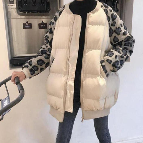 LEOPARD PRINT SLEEVES ZIPPER PADDED COAT OUTWEAR
