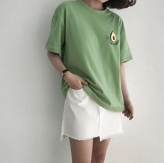 LETS AVOUCOOLE EMBROIDERY GREEN WHITE COTTON T-SHIRT