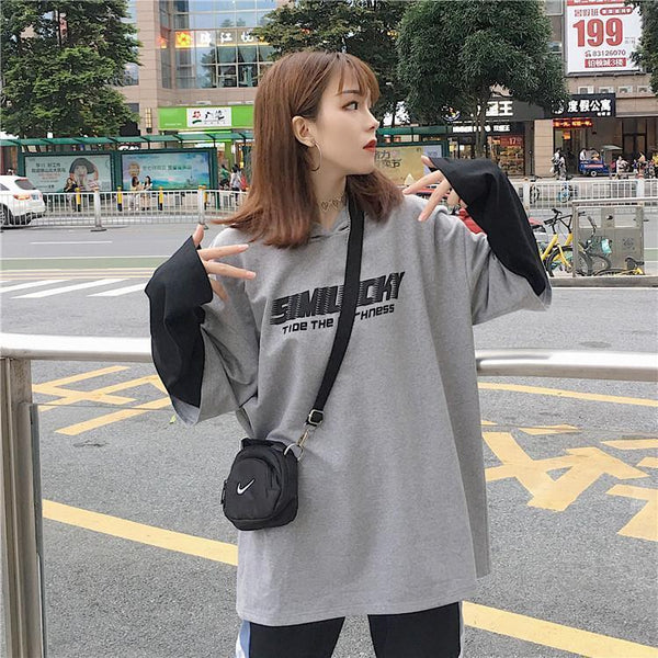 LETTERS PRINT FAKE TWO PIECES STITCHING HOODED T-SHIRT