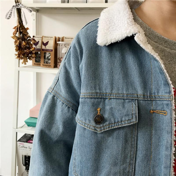 LIGHT BLUE FAUX LAMB WHITE FLUFFY COLLAR BUTTONS OUTWEAR JACKET