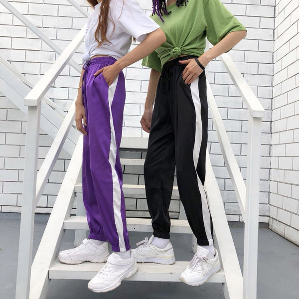LIGHT SUMMER SATIN PASTEL COLOURS THICK SIDE SPORT LINE ELASTIC PANTS