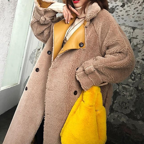 LONG BEIGE FLUFFY FUR WAIST BELT COAT