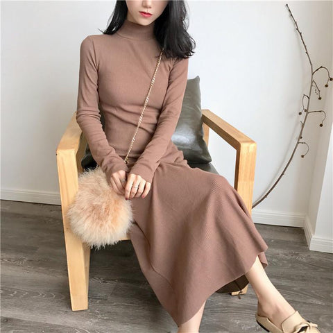 LONG COTTON KNIT HIGH NECK LONG SLEEVE BEIGE ROSE PINK DRESS