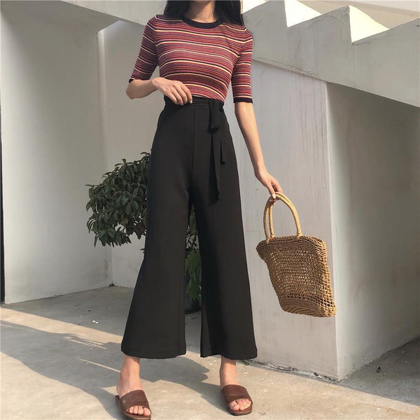 LONG FLARED CHIFFON BLACK BEIGE WAIST BELT OVERSIZED PANTS