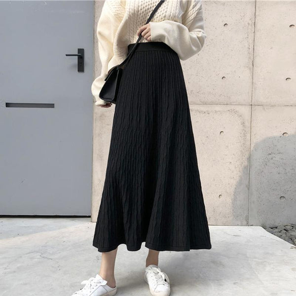 LONG HIGH WAIST BLACK BEIGE RIBBED SKIRT