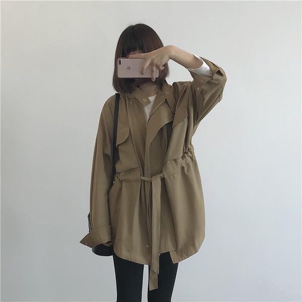 LOOSE BELTED FRONT POCKETS SNAP-BUTTONS SHORT TRENCH COAT