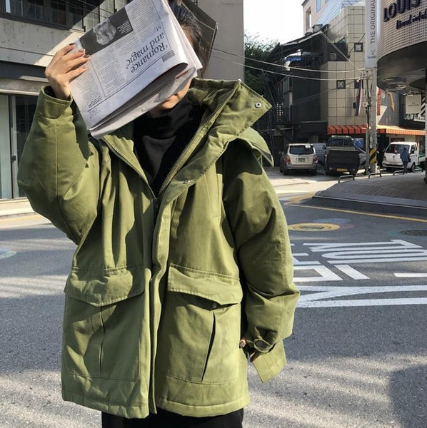 LOOSE HOODED GREEN BLUE WHITE WINTER JACKET