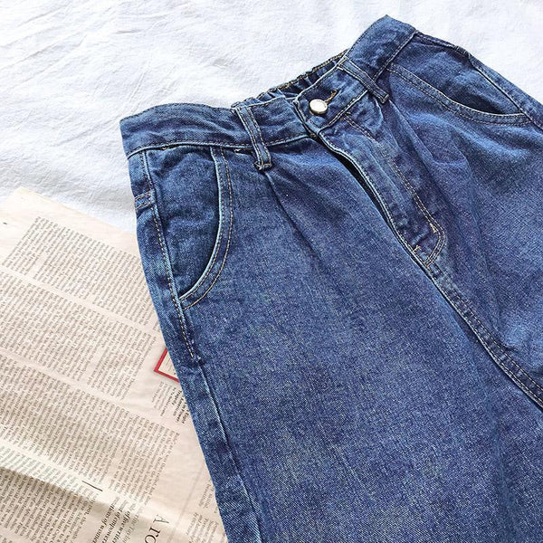 LOOSE RETRO NAVY BLUE DENIM HIGH WAIST JEANS