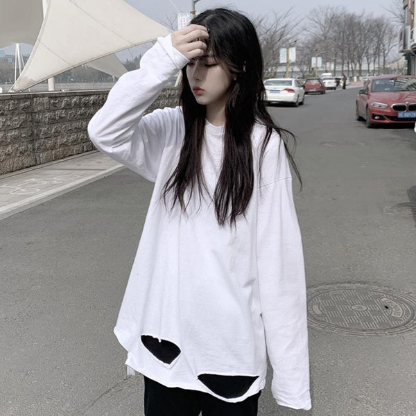 LOOSE RIPPED HOLE LONG SLEEVE T-SHIRT