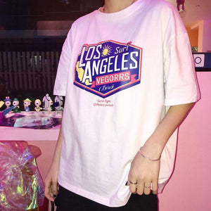 LOS ANGELES SURF PRINT OVERSIZED WHITE LONG T-SHIRT