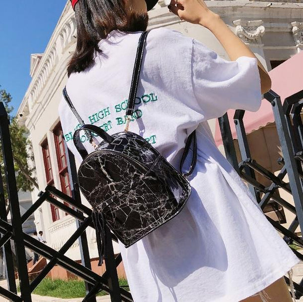 MARBLE PATTERN LEATHER ZIPPER FASHION BACKPACK
