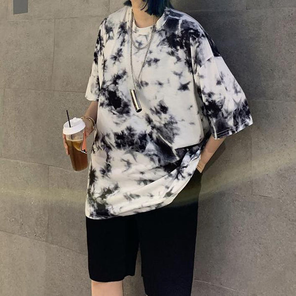 MARBLE PATTERN TIE DYE BLACK BLUE OVERSIZED T-SHIRT