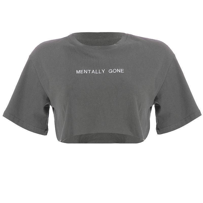 MENTALLY GONE LETTER PRINT LOOSE CROPPED TOP
