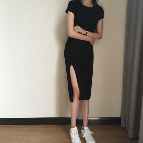 MIDI BLACK BASIC SIDE CUT SEXY SLIM SHORT SLEEVE DRESS