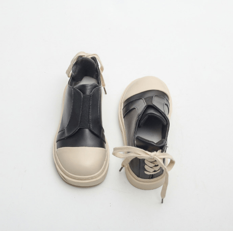 MINIMAL FUTURISTIC LEATHER FLAT CASUAL SNEAKERS