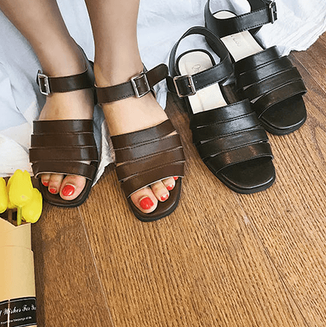 MINIMALISTIC CLASSIC LEATHER LOW HEEL OPEN TOE SANDALS