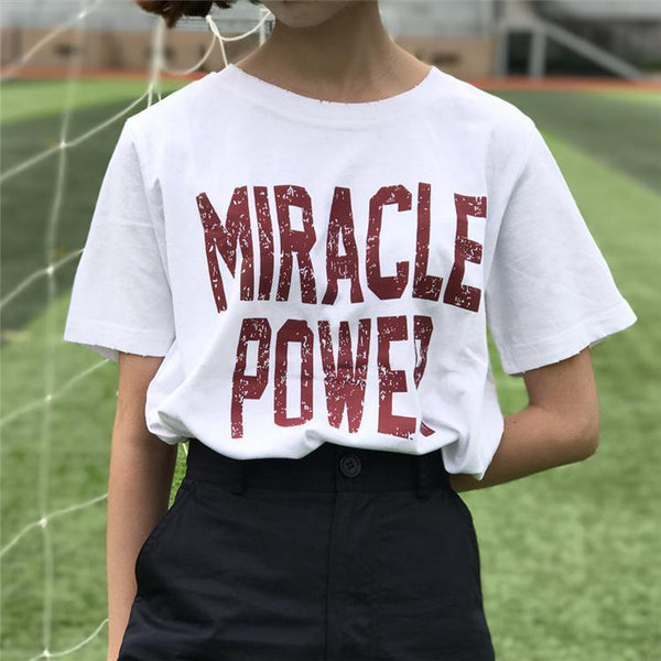 MIRACLE POWER RETRO FONT LOOSE WHITE BLACK T-SHIRT