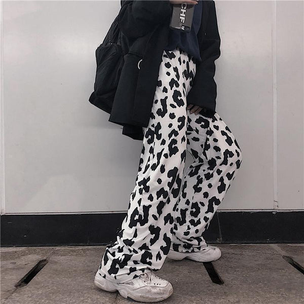 MONOCHROME LEOPARD PRINT RETRO AESTHETIC LOOSE PANTS