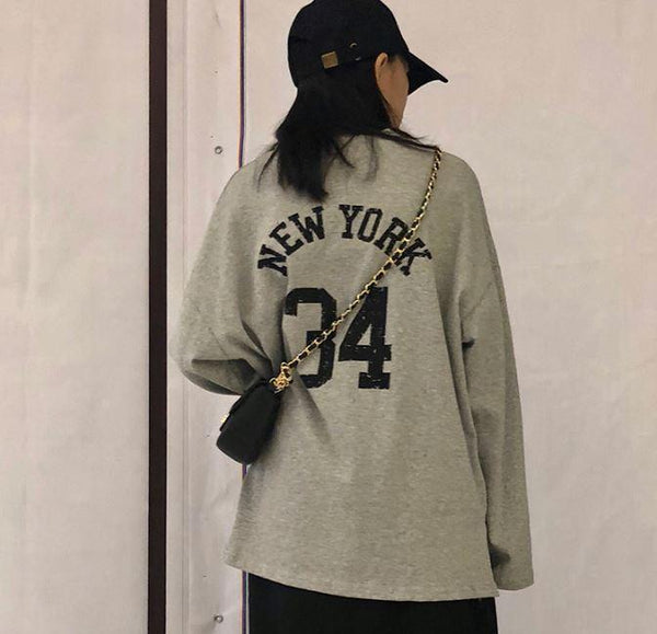 NEW YORK 34 BACK PRINTED COTTON LONG SLEEVE T-SHIRT