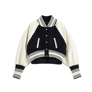 OLD SCHOOL LONG SLEEVE OVERSIZED CROP BOMBER JACKET