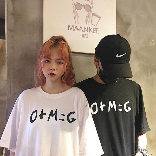 OMG MATHS PRINT OVERSIZED WHITE LONG T-SHIRT