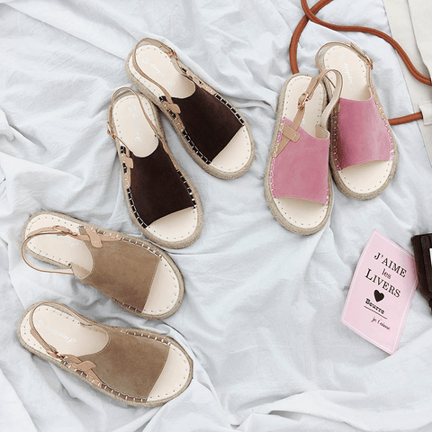 OPEN TOE SUEDE SUMMER WICKER FLAT ESPADRILLES