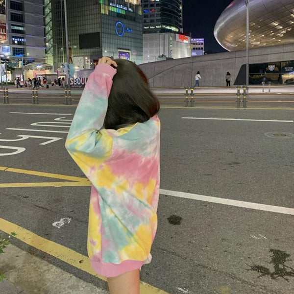 ORANGE PINK TIE DYE LOOSE PASTEL AESTHETIC SWEATSHIRT