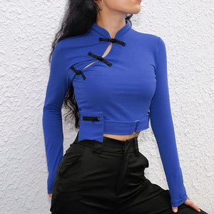 ORIENTAL STYLE POCKET LONG SLEEVED CROP SHIRT