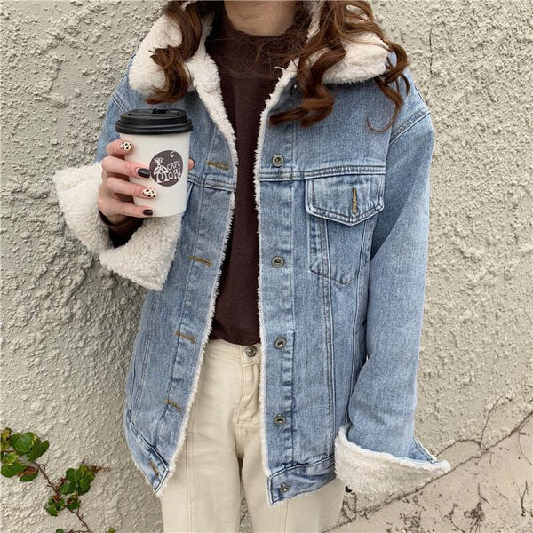 OUTWEAR FLUFFY DENIM WARM BLUE BLACK JACKET