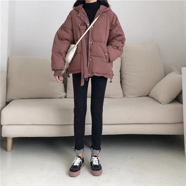 OUTWEAR HOODED SOLID COLORS ZIPPER QUILTED JACKET