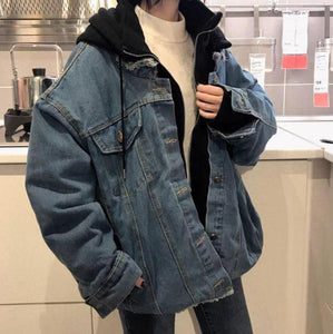 OVERSIZE DENIM HOODED THICK JACKET