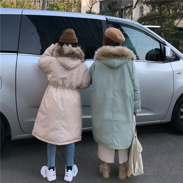 OVERSIZE PINK MINT FAUX FUR HOODED LONG COAT
