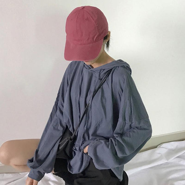 OVERSIZE SOLID COLORS THIN V-NECK HOODIE