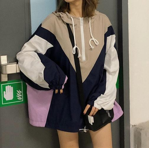 OVERSIZE SPORTY WINDBREAKER HOODED RETRO STYLE JACKET