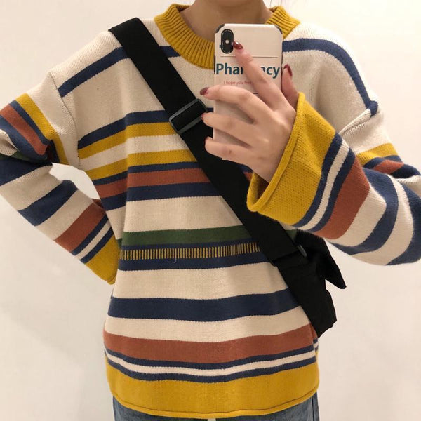 OVERSIZED 90s CONTRAST STRIPES KNITTED SWEATER