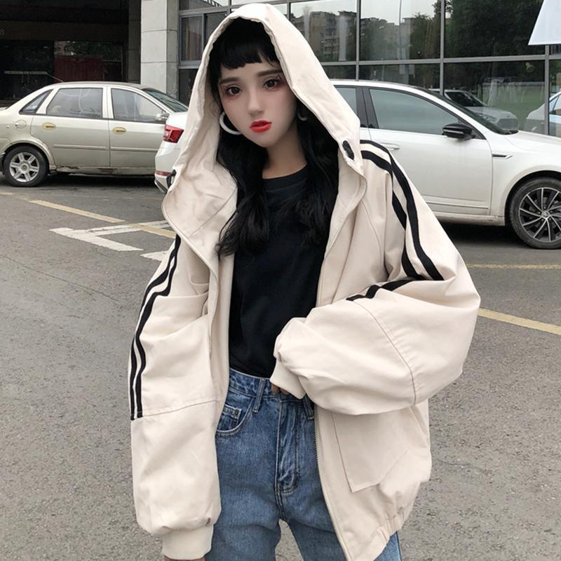 OVERSIZED HOODED SIDE STRIPES WINDBREAKER JACKET