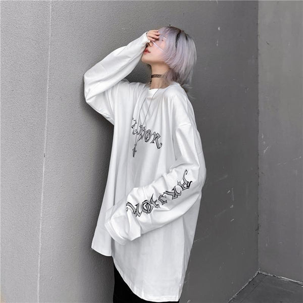OVERSIZED HORROR COMIC BACK PRINTED WHITE SWEATSHIRT