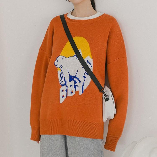 OVERSIZED KAWAII POLAR BEAR KNIT BLACK ORANGE SWEATER