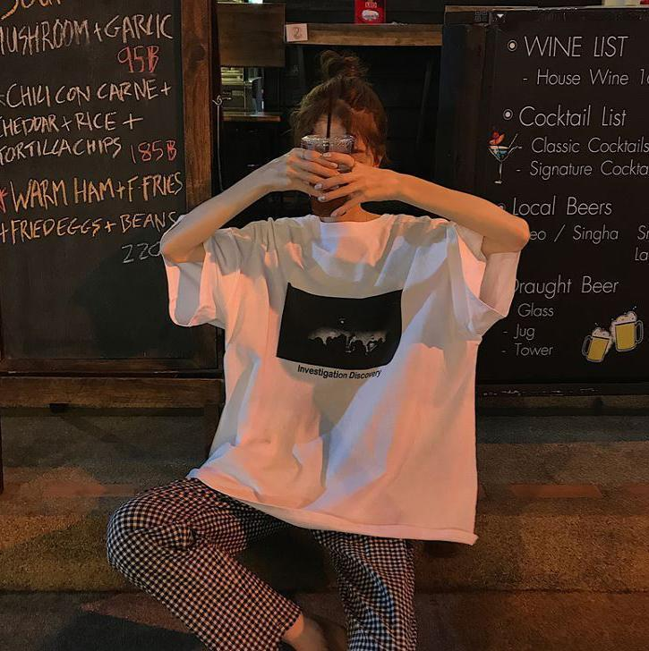 OVERSIZED LETTER PRINT T-SHIRT + CHECKERED LOOSE PANTS 2 PIECE SET