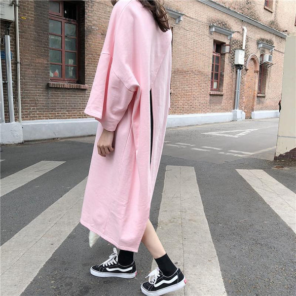 OVERSIZED OPEN BACK DRESS LONG SHIRT