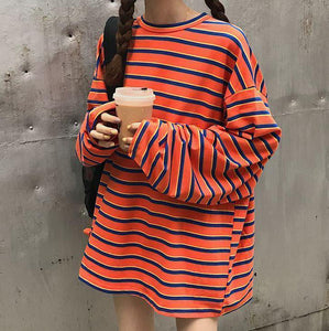 OVERSIZED ORANGE BLUE LONG SLEEVE STRIPED T-SHIRT