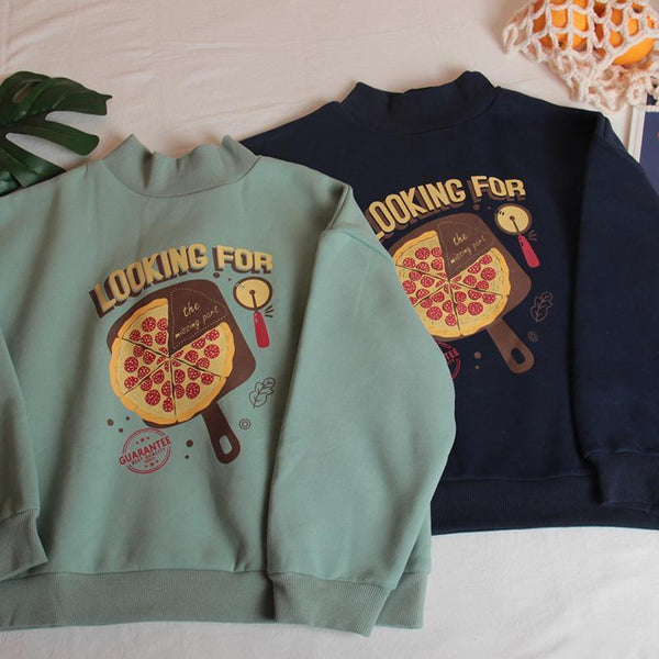 OVERSIZED PIZZA PRINT NAVY BLUE GREEN KAWAII SWEATSHIRT