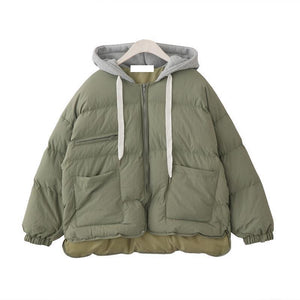 OVERSIZED PUFF PADDED GRAY COTTON HOOD ZIPPER OUTWEAR COAT